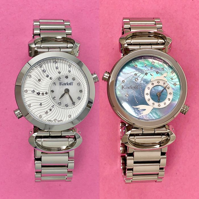 """Korloff - 64 Diamonds for 0.28 Carat Reversible 2 Timezones Mother Of Pearl Dial Swiss Made - LM5/6BR """"NO RESERVE PRICE"""" - Women - Brand New"""