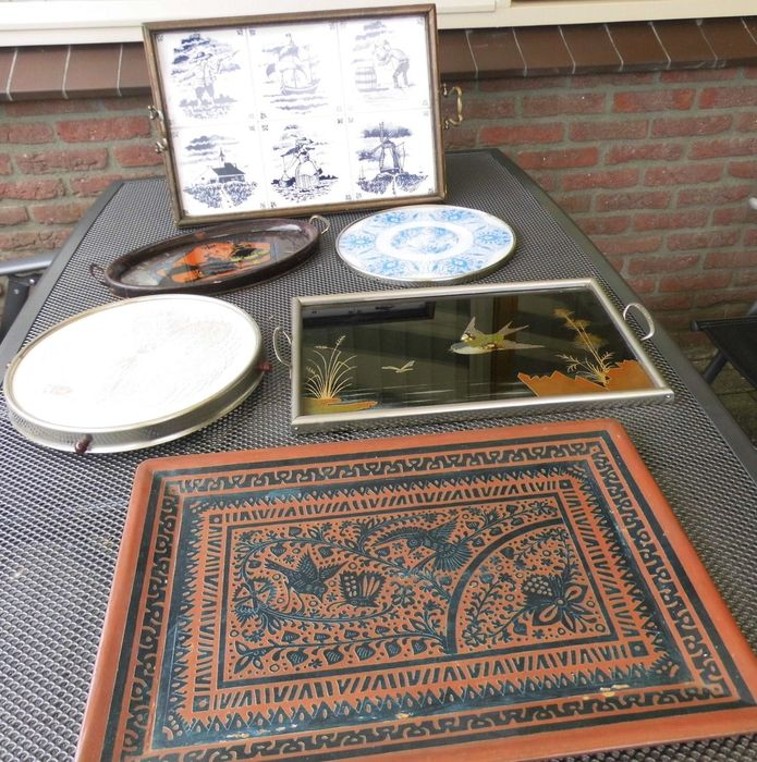 Tray, serving tray - Folk Art - wood and glass