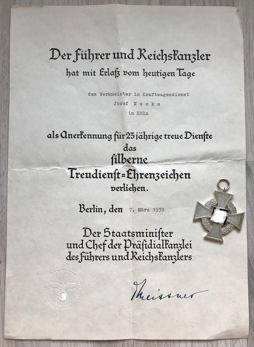 Germany - Loyalty service decoration 2nd level for 25 years and award certificate - 1939