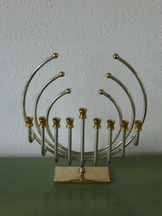 Candelabrum, Hanukkiah - Bronze (gold-plated/silver-plated/patinated/cold painted)