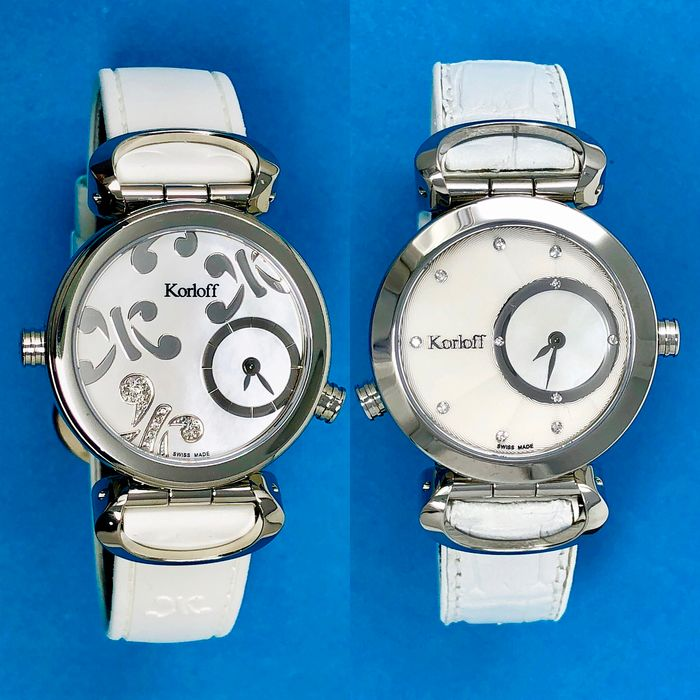 "Korloff - 28 Diamonds for 0,12 Carats Reversible 2 Timezones White Mother of Pearl Dial Swiss Made  - LR1/4 ""NO RESERVE PRICE"" - Women - BRAND NEW"