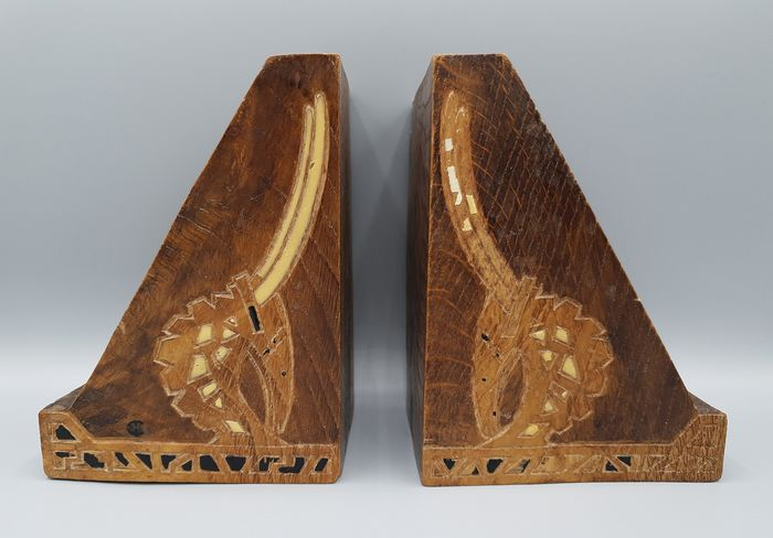 Pair of Art Deco carved wood bookends