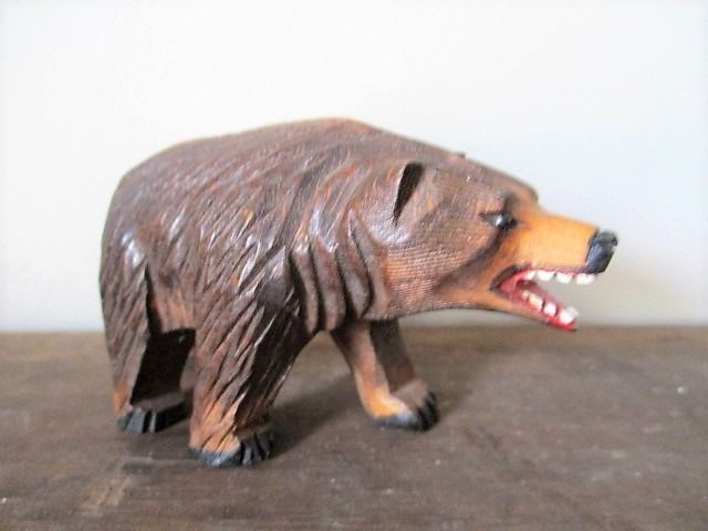 Sculpture, Bear with glass eyes - Glass, Wood