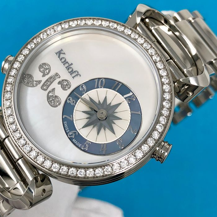 Korloff - 108 Diamonds for 1,26 Carat Reversible 2 time Zones Mother of Pearl Dial Verso Waves Swiss Made  - LM1D/2BR - Dames - BRAND NEW
