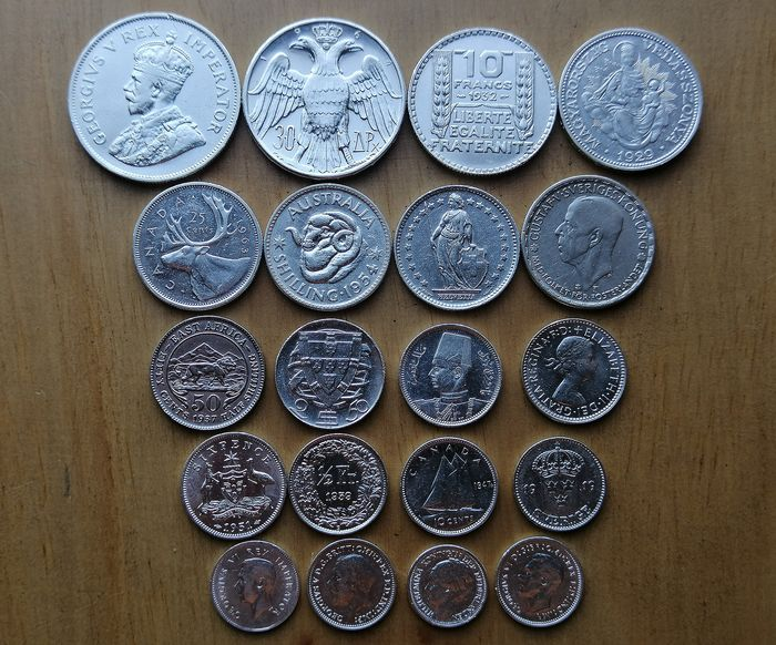 World - Lot of various coins 1919/1964 (20 pieces)  - Silver