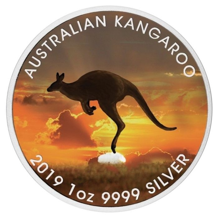 Australie - 1 Dollar 2019 - Kangaroo - Colorized - 1 Oz with COA - Argent