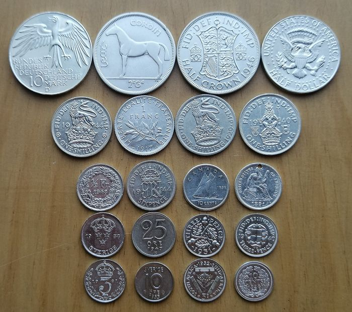 World - Lot of various coins 1891/1979 (20 pieces)  - Silver