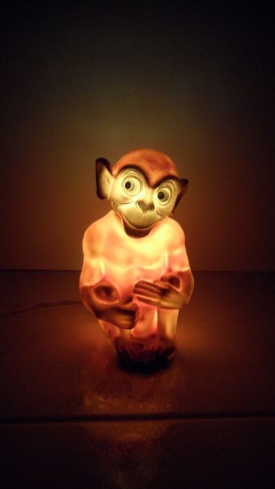 Monkey with light - perfume lamp - 50s (1) - Porcelain