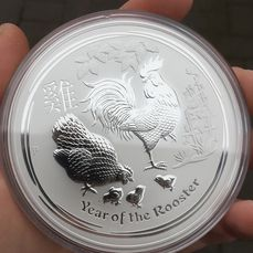 Australia. 10 Dollars 2017 Perth Mint Lunar II Jahr des Hahn - 10 oz - in Kapsel