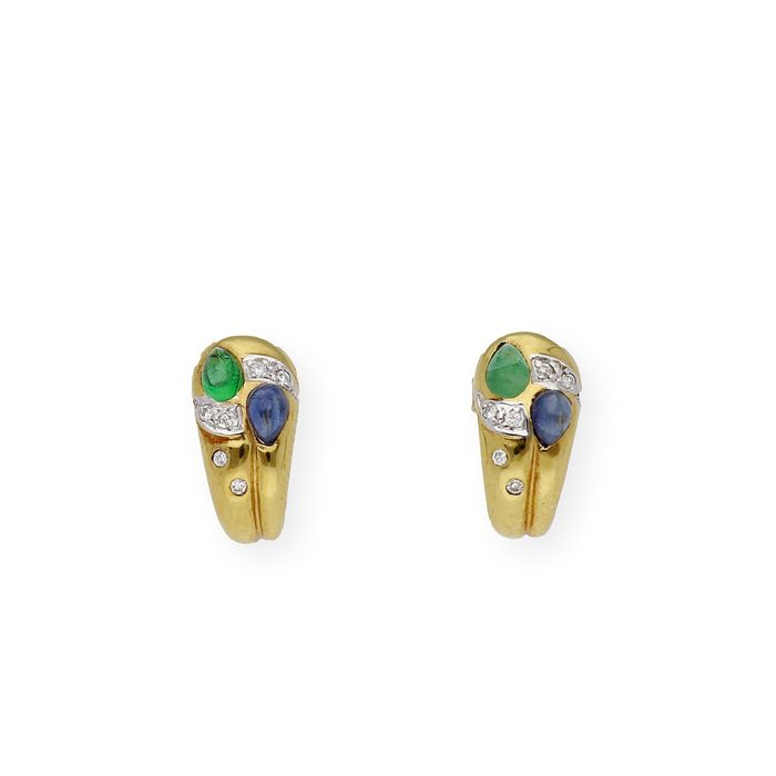 18 kt. Gold, Yellow gold - Earrings Sapphire - Emerald