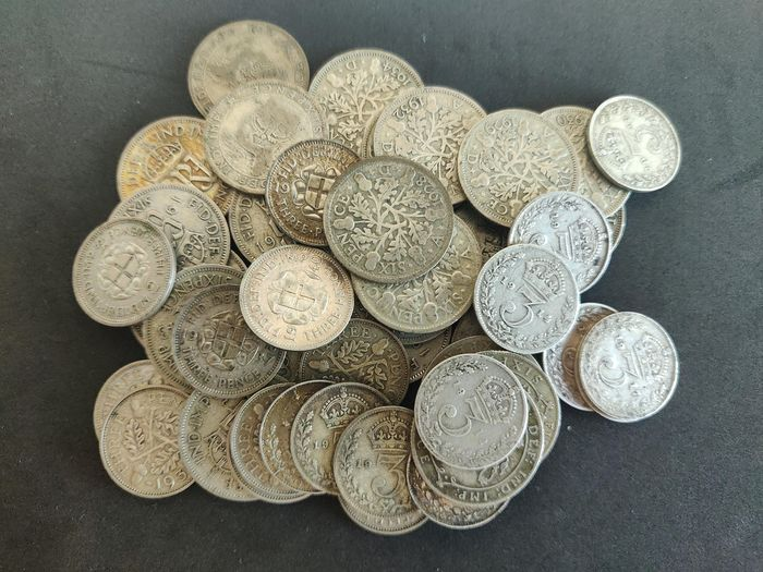 Great Britain - 3 Pence and 6 Pence 1920/1946 (47 pieces)  - Silver