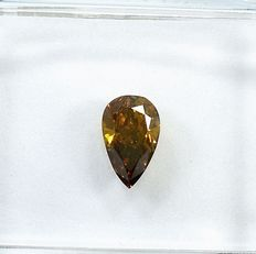 Diamant - 0.47 ct - Päron - Natural Fancy Deep Orange-Brown - VS1