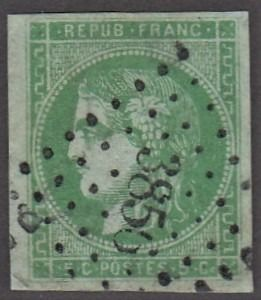 Francja - Bordeaux issue, 5 centimes green - Yvert 42B