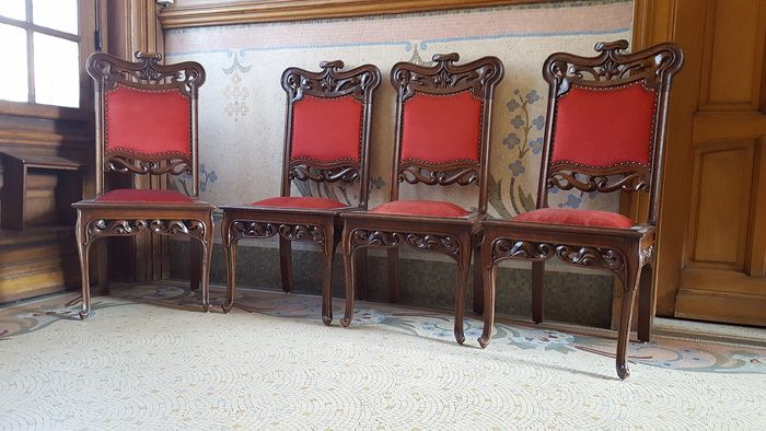 Miraculous Four Art Nouveau Dining Room Chairs Catawiki Download Free Architecture Designs Photstoregrimeyleaguecom