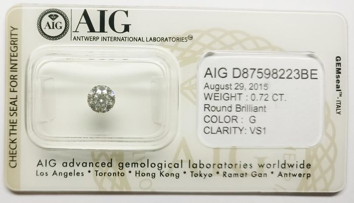 1 pcs Diamanten - 0.72 ct - Rund - G - VS1