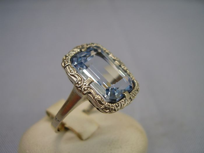 935 Silver - Ring - 5.00 ct Aquamarine spinel