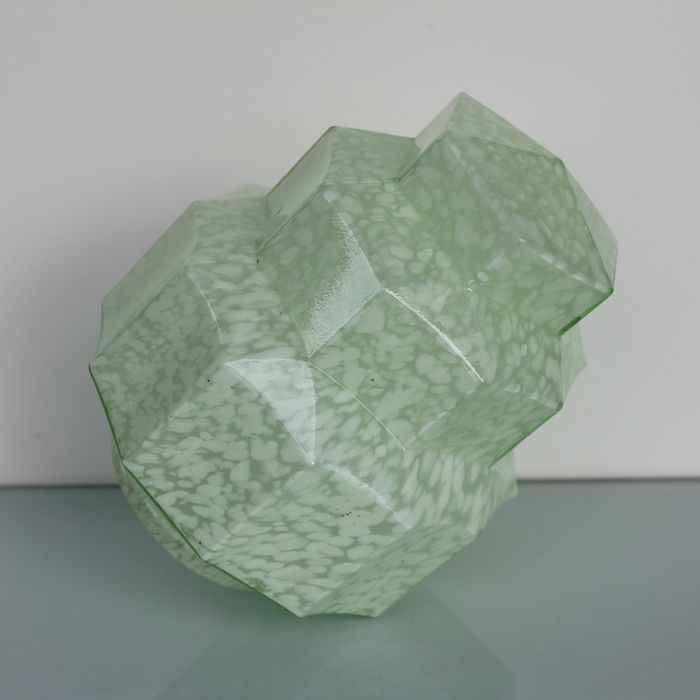 Art Deco green glass marble like star tower lamp shade.