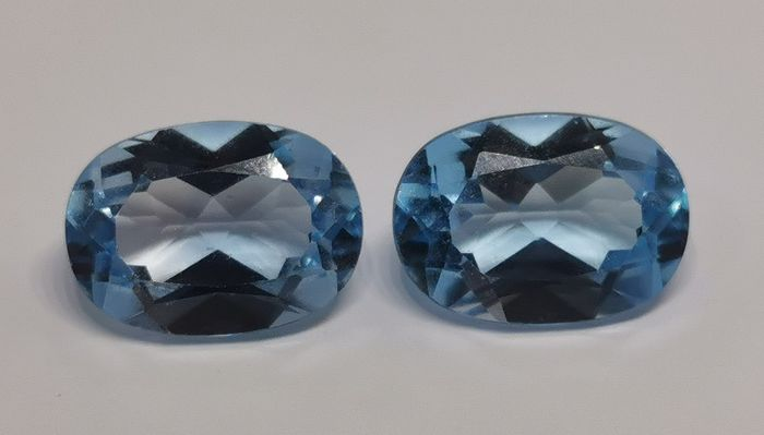 Blue Topaz Pair - No Reserve Price - 15.92 ct