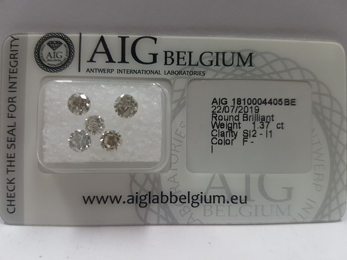 Diamonds - 1.37 ct - Brilliant - F, G, H, I - I1, SI2