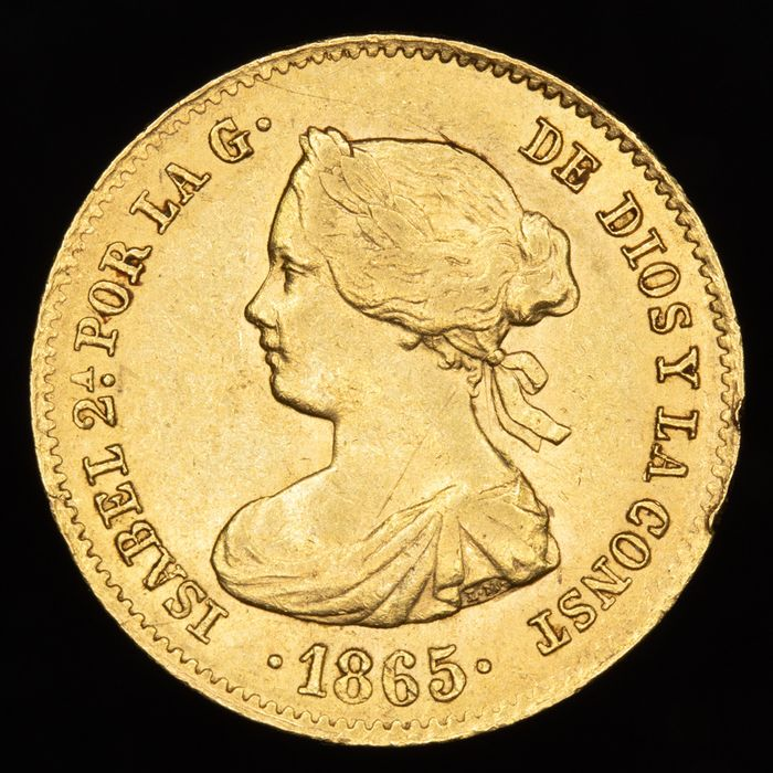 Spain - 4 escudos.  - Isabel II (1833-1869) . 1865. Madrid - Gold