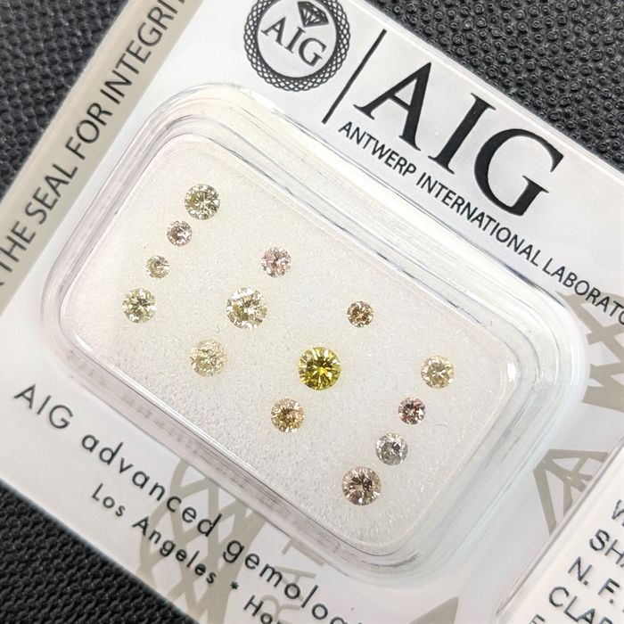 14 pcs Diamanten - 0.52 ct - Briljant - Fancy Mix Color - P1, P2, SI1, SI2, SI3, VS1, VS2, VVS1, VVS2, No Reserve Price