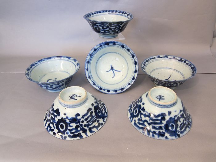 6 Bowls (6) - Blue and white - Porcelain - ming stijl - China - begin 19th century