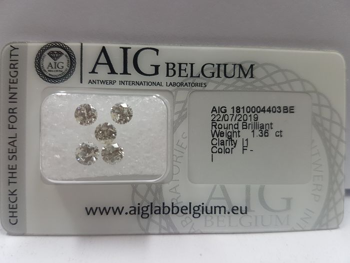 Diamanten - 1.36 ct - Brillant - F, G, H, I - I1