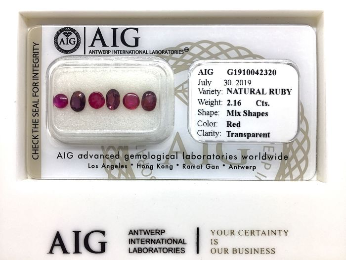 6 pcs Red Ruby - 2.16 ct