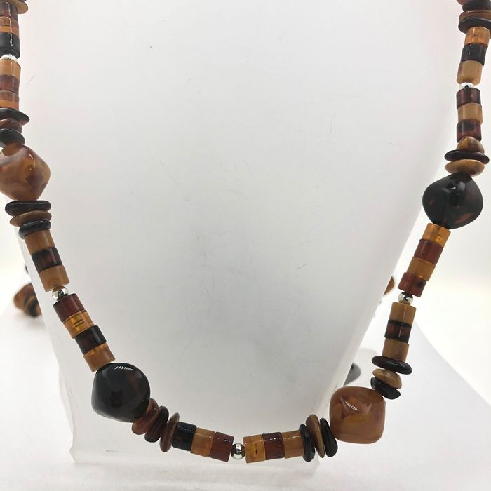 925 Amber, Silver - Necklace
