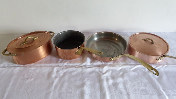 Metaux Ouvres Vesoul Art et Cuisine - Tagus chef - copper pan set - frying pan - frying pan - saucepan (4) - copper - bronze - aluminum