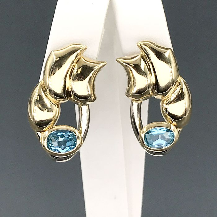 18 kt. Yellow gold - Earrings - 1.40 ct Topaz