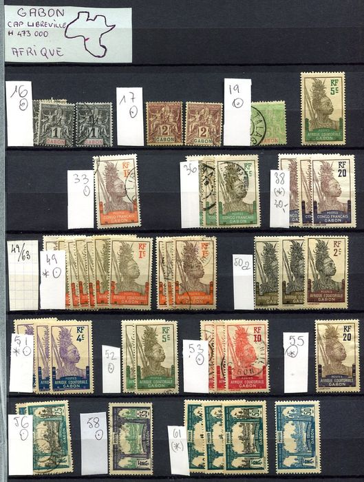 Gabon 1904/1995 -  duplicated lot including MS's.