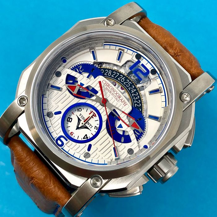 "Visconti - 2Squared Automatic Chronograph Speedboat - Ostrich Strap - Limited Edition - KW35-02 ""NO RESERVE PRICE"" - Men - NEW"