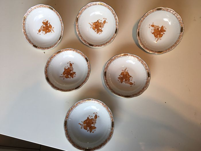 Herend - Apponyi rust bouquet bowls (6) - Porcelain