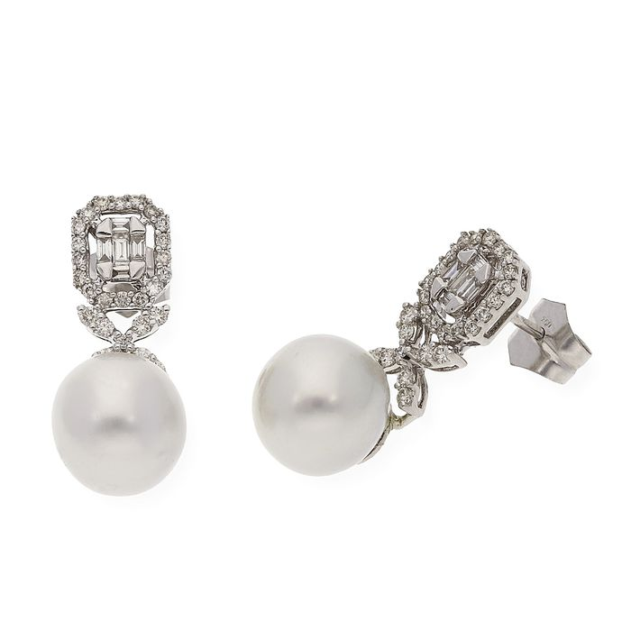 18 kt. South sea pearl, White gold - Earrings Diamond