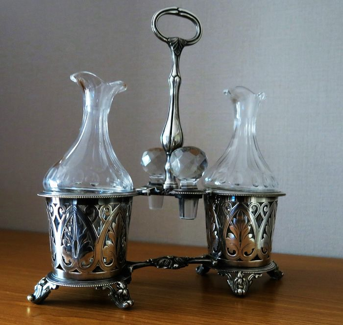 silver metal vinegar, crystal bottles and stoppers (1) - silver plated
