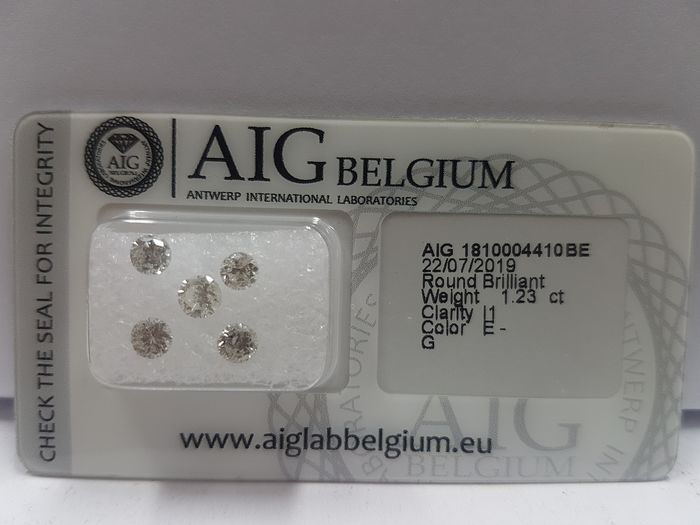 Diamanten - 1.23 ct - Brillant - E, F, G - I1