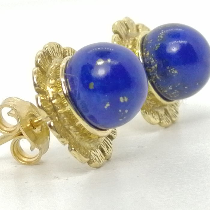 18 kt. Bicolour, Gold - Earrings Lapis lazuli