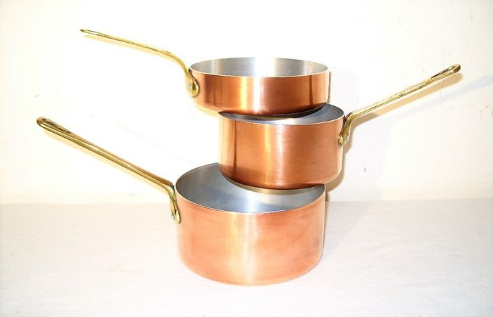 3 French pans - Copper, brass, aluminum
