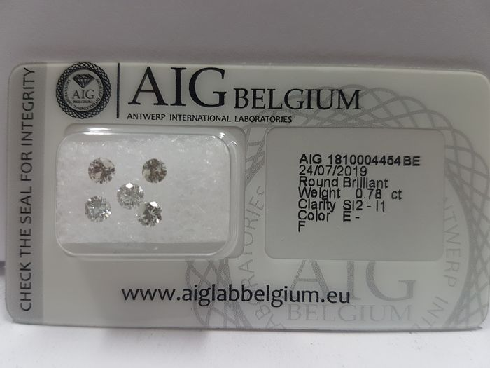 Diamanten - 0.78 ct - Brillant - E, F - I1, SI2