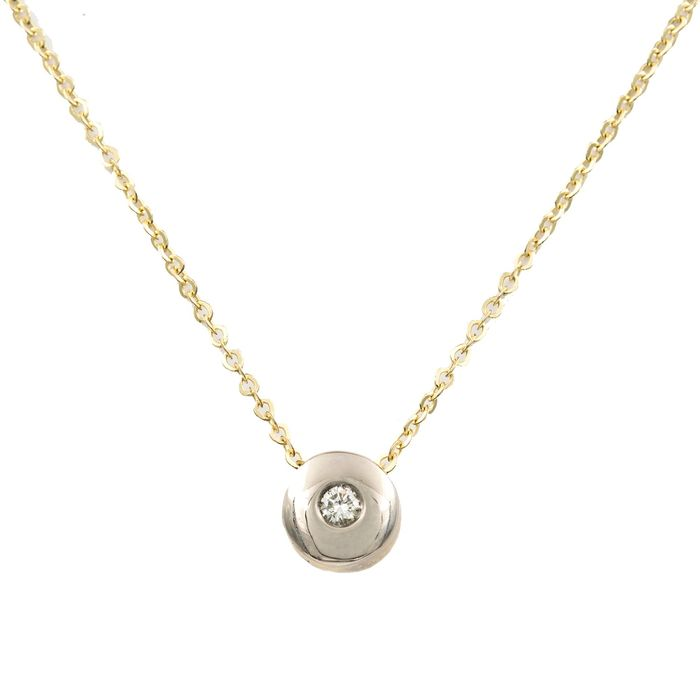 18 kt. Bicolour, Gold, White gold, Yellow gold - Necklace with pendant Diamond