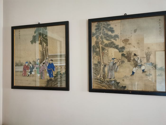 Framed painting (2) - Silk - China - mid 19th century