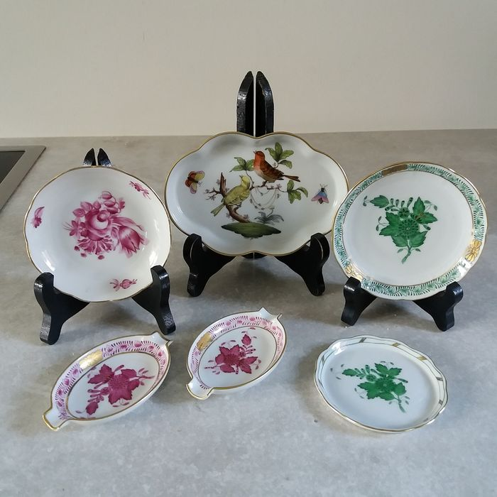 Herend ashtray, dishes (6) - Porcelain