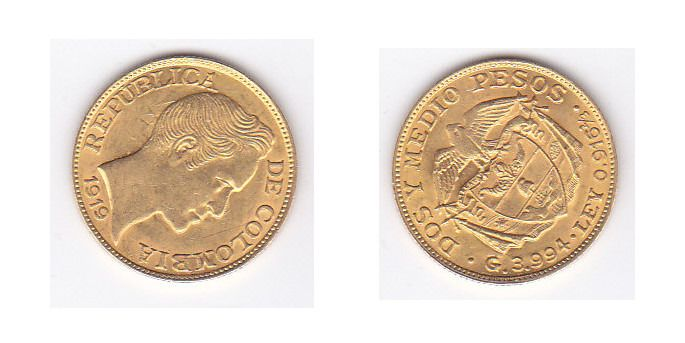 Colombie - 2½ Pesos 1919 - Or