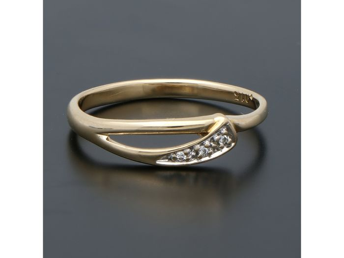 18 kt. Yellow gold - Ring - 0.02 ct Diamond