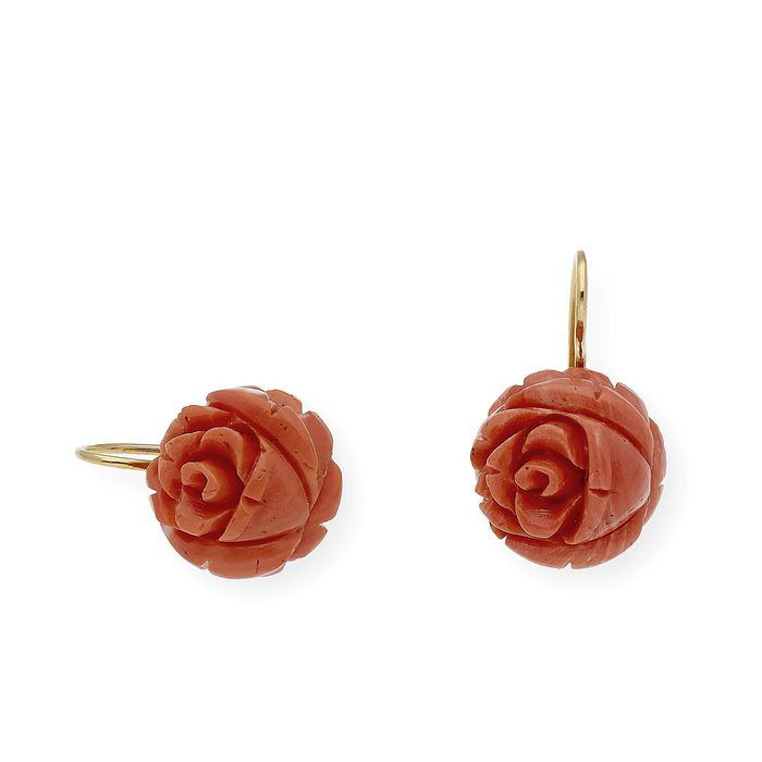 18 kt. Gold - Earrings Pacific natural coral