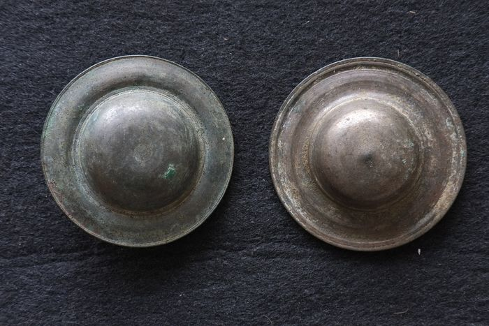 Set of 2 antique Bronze Horse Blinkers (2) - Bronze - Cambodia - 19th century