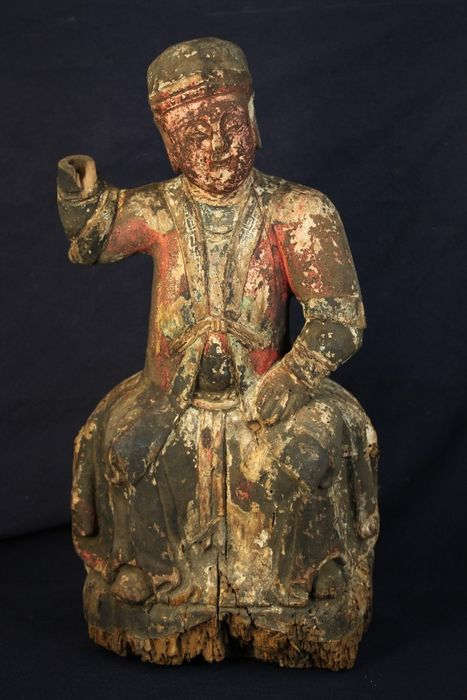 Figure - Wood - Extra large 37cmH Taoism dignity over 2kg - China - Late 19th century