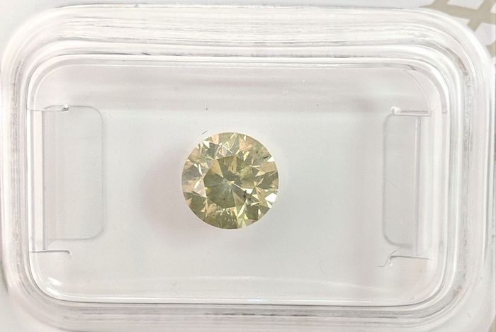 Diamant - 1.00 ct - Briljant - fancy intens green yellow - SI2, No Reserve Price