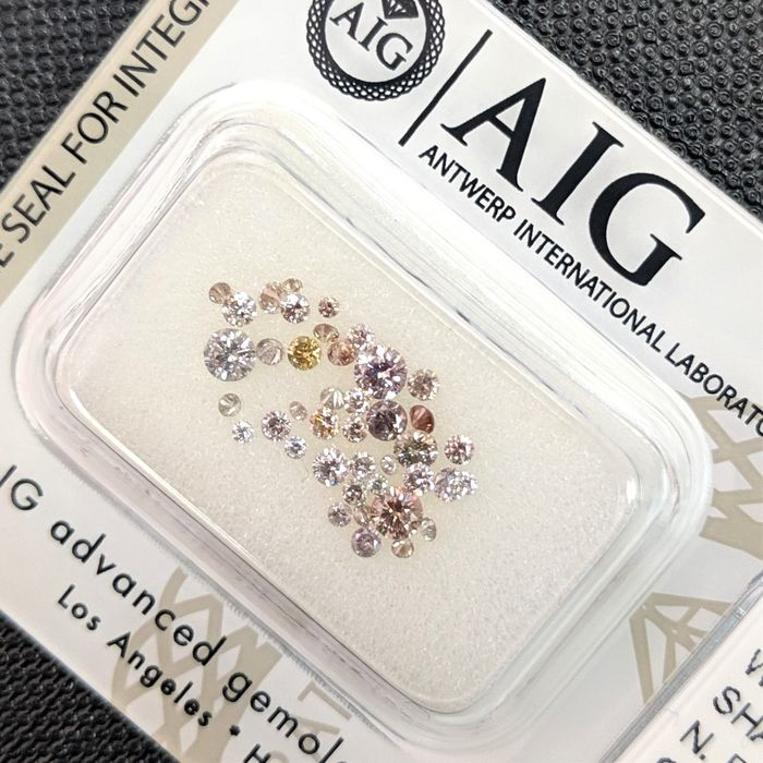 41 pcs Diamanten - 0.63 ct - Briljant - Fancy Mix Color - SI1, SI2, SI3, VS1, VS2, VVS1, VVS2, No Reserve Price